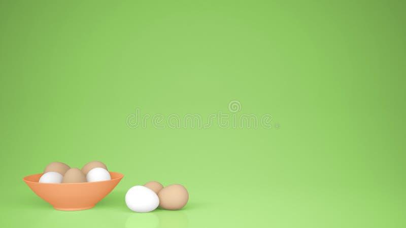 A galinha eggs em um copo alaranjado na tabela, fundo verde com espaço da cópia, ideia do conceito do alimento de easter do café  foto de stock