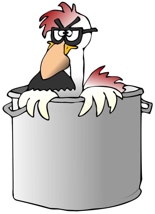 Galinha engraçada em um potenciômetro da sopa ilustração stock