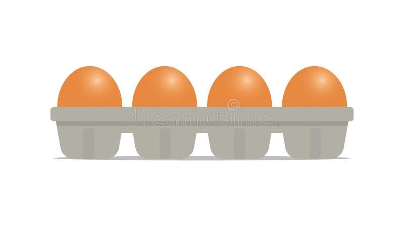 A galinha fresca eggs no pacote isolado no fundo branco ilustração do vetor