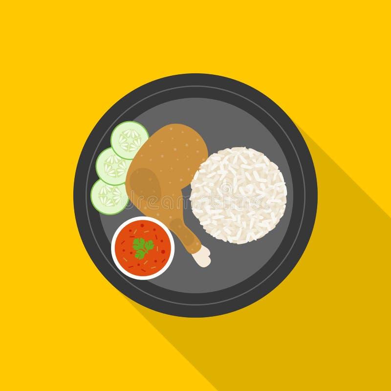 Galinha grelhada com arroz pegajoso ilustração stock