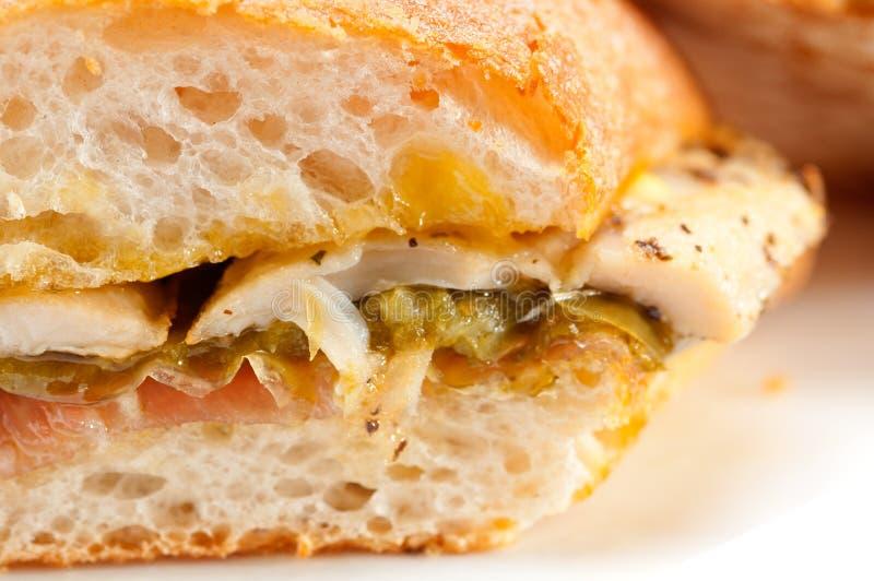 Galinha italiana do sanduíche do panini do ciabatta imagem de stock