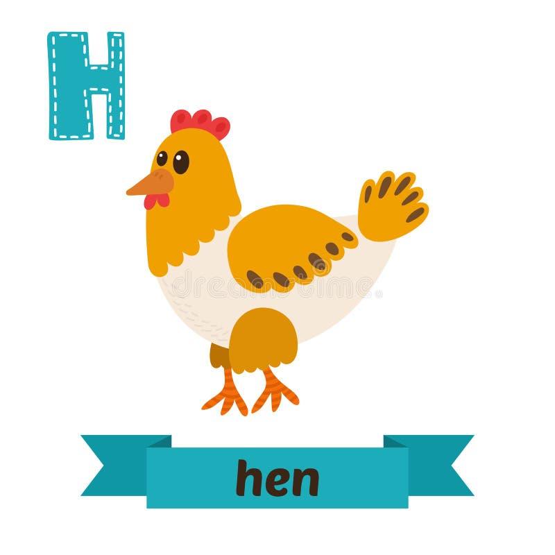 galinha Letra de H Alfabeto animal das crianças bonitos no vetor Ca engraçado ilustração royalty free