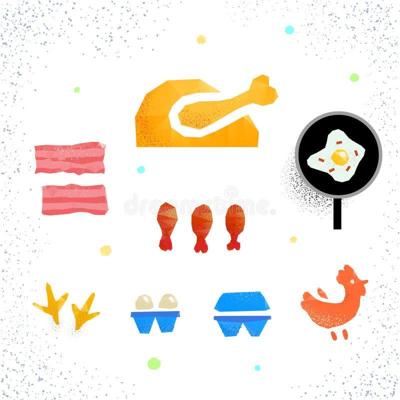 Galinha, ovos, bacon ilustração stock