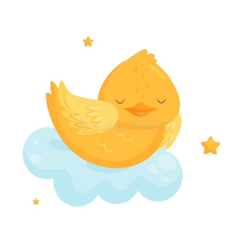 Galinha pequena bonito que dorme em uma nuvem, personagem de banda desenhada bonito do pássaro, elemento do projeto da boa noite, ilustração do vetor