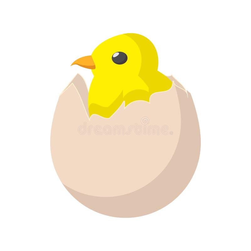 A galinha recém-nascida amarela chocou do ícone do ovo ilustração stock