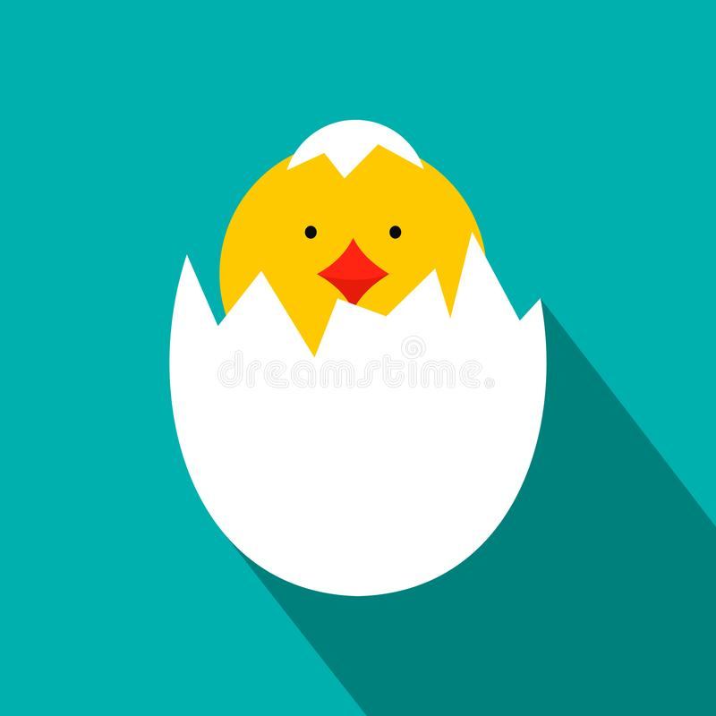 A galinha recém-nascida amarela chocou do ícone do ovo ilustração royalty free