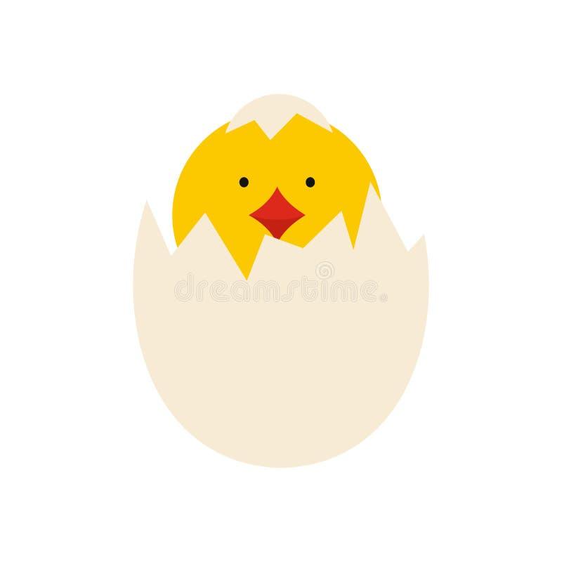 A galinha recém-nascida amarela chocou do ícone do ovo ilustração do vetor