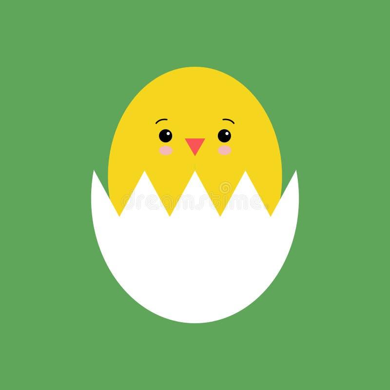 Galinha recém-nascida amarela engraçada em kawaii quebrado do escudo de ovo ilustração stock