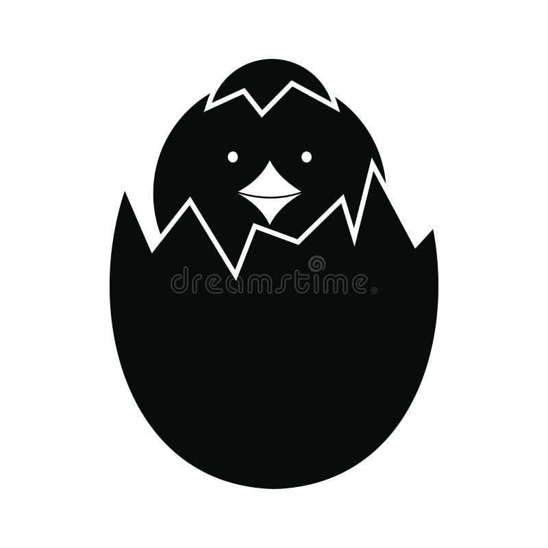 Galinha recém-nascida chocada do ícone do ovo ilustração do vetor