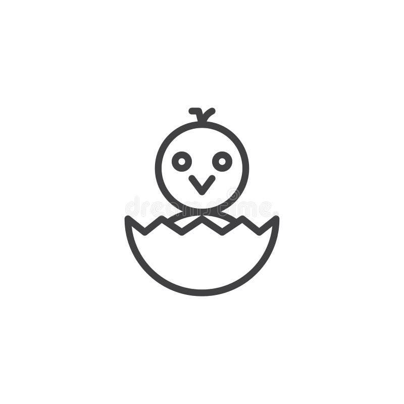 Galinha recém-nascida no ícone do esboço do shell de ovo ilustração stock