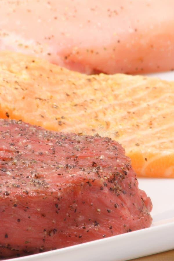 Galinha, salmões e carne imagens de stock royalty free