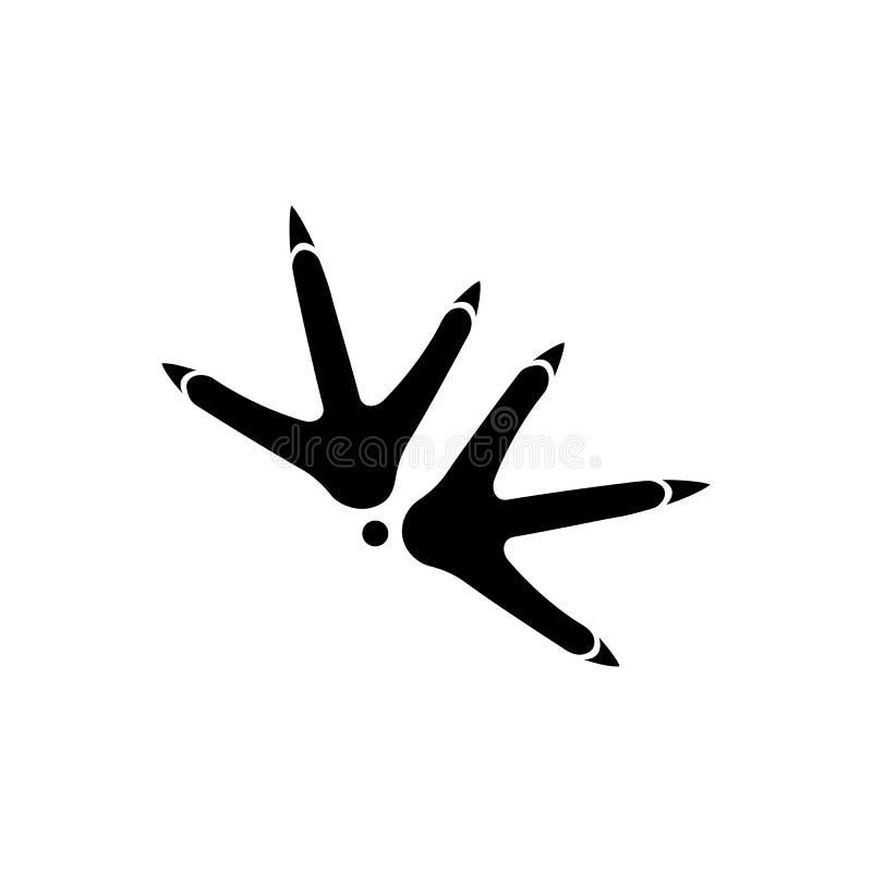 A galinha segue o ícone do vetor Cópias pretas da pata em um fundo branco imagem de stock