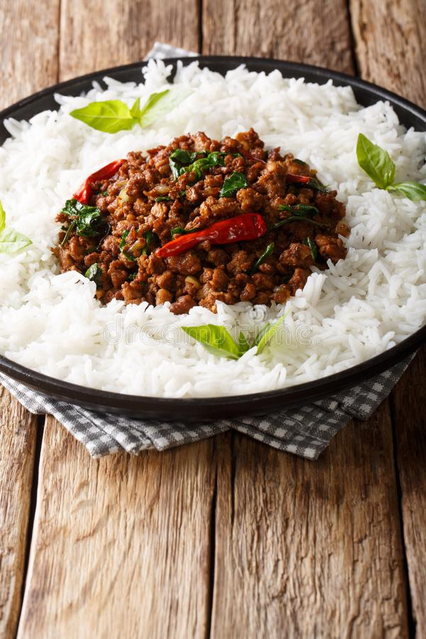 Galinha tailandesa da manjericão com pimenta de pimentão picante e molho de soja com close-up da guarnição do arroz em uma placa  imagem de stock