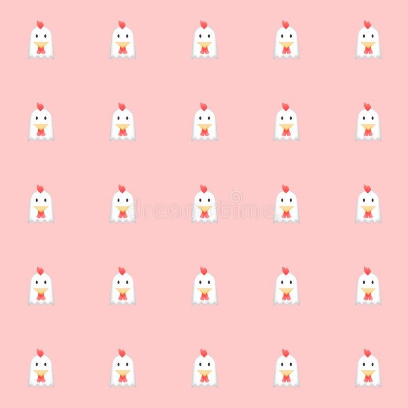 Galinhas de Cutie com fundo cor-de-rosa Fundo da telha Vetor ilustração do vetor