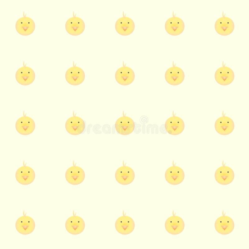 Galinhas do bebê de Cutie com fundo amarelo ilustração royalty free