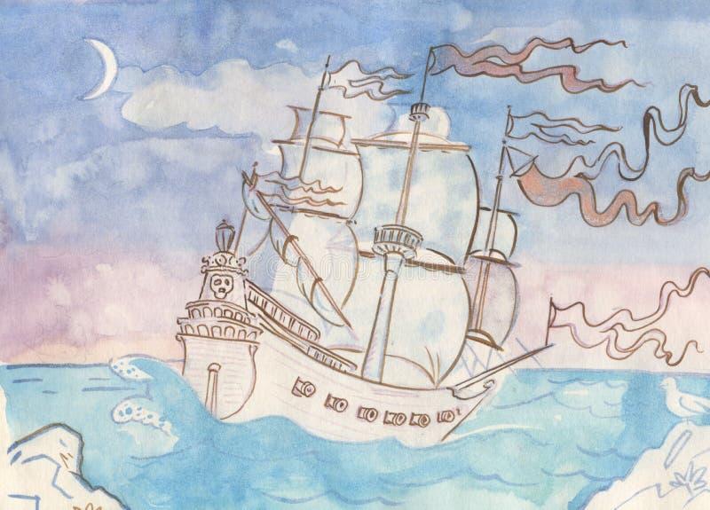 Galjoenschip royalty-vrije illustratie