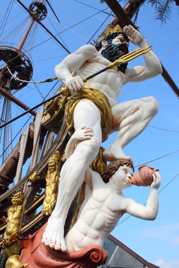 Galjonsfiguren av piratkopieraskeppet arkivbild
