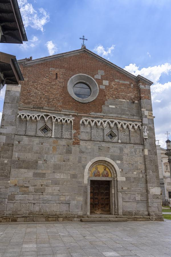 Gallarate, Italy: San Pietro church. Gallarate, Varese, Lombardy, Italy: exterior of the medieval San Pietro church royalty free stock photography