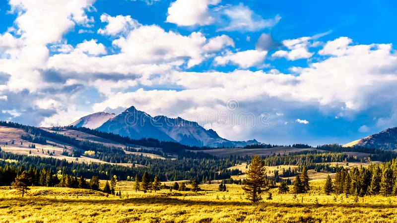 The Gallatin Mountain Range with Electric Peak under later afternoon sun. Viewed from the Grand Loop Road near Mammoth Hot Springs. In Yellowstone National Park stock image