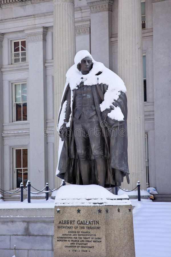 Gallatin Statue Snow US Treasury Washington Royalty Free Stock Photography