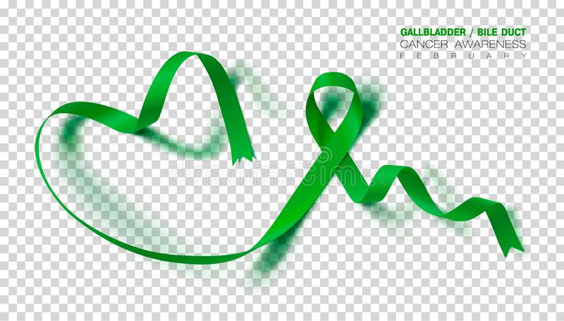 Gallbladder and Bile Duct Cancer Awareness Month. Realistic Kelly Green ribbon symbol. Medical Design. Vector. Gallbladder and Bile Duct Cancer Awareness Month stock illustration