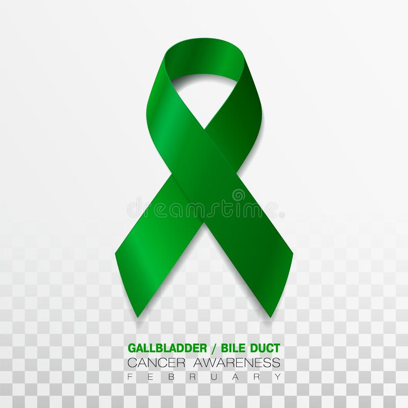 Gallbladder and Bile Duct Cancer Awareness Month. Realistic Kelly Green ribbon symbol. Medical Design. Vector. Gallbladder and Bile Duct Cancer Awareness Month vector illustration