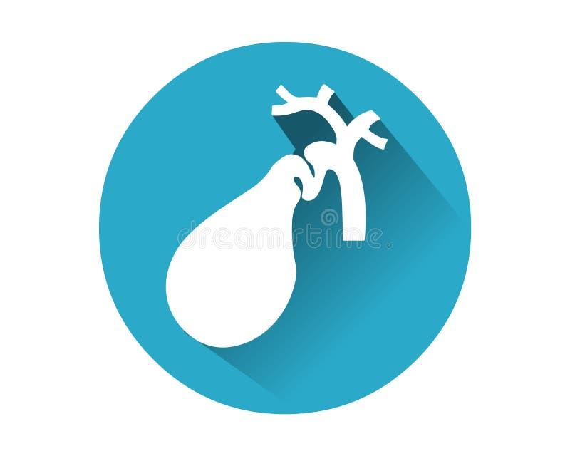 Gallbladdersymbolsvektor Mänskligt inre organ royaltyfri illustrationer