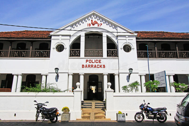Galle Fort`s Old Police Barracks- Sri Lanka UNESCO World Heritage. Galle Fort, in the Bay of Galle on the southwest coast of Sri Lanka, was built first in 1588 stock photo