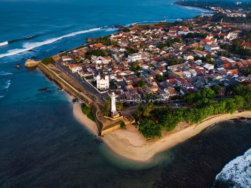 Galle Nederlands Fort in Galle-stad van Sri Lanka-antenne royalty-vrije stock foto's
