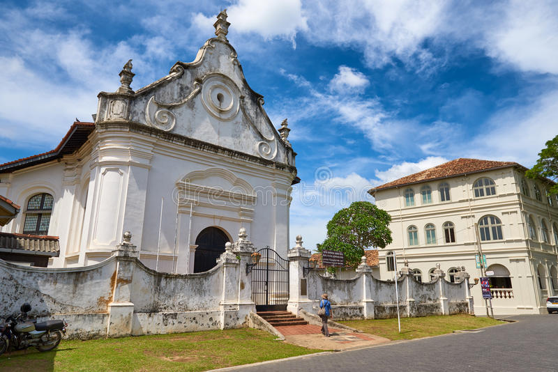 GALLE, SRI-LANKA/JANUARY 30.2017: Nederlandse opnieuw gevormde kerk stock afbeelding