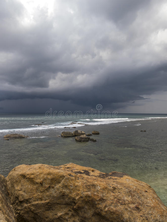 Galle view on sea and bad clouds. Galle view on bad clouds in Srilanka royalty free stock photo