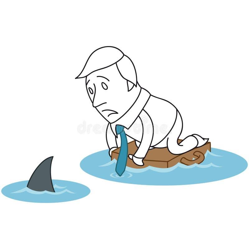 Galleggiamento dell'oceano dello squalo dell'uomo d'affari del fumetto illustrazione vettoriale