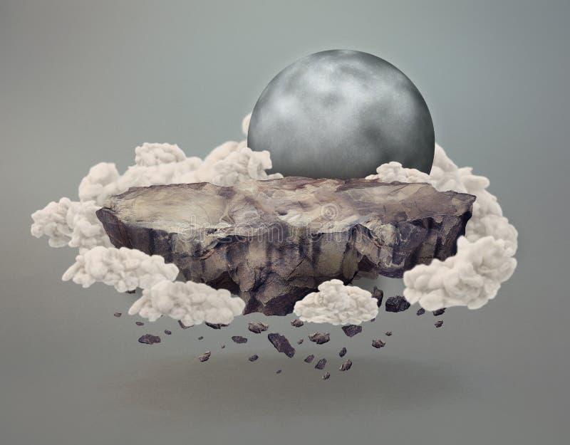 Galleggiamento della scogliera circondato dalle nuvole vicino alla luna illustrazione vettoriale