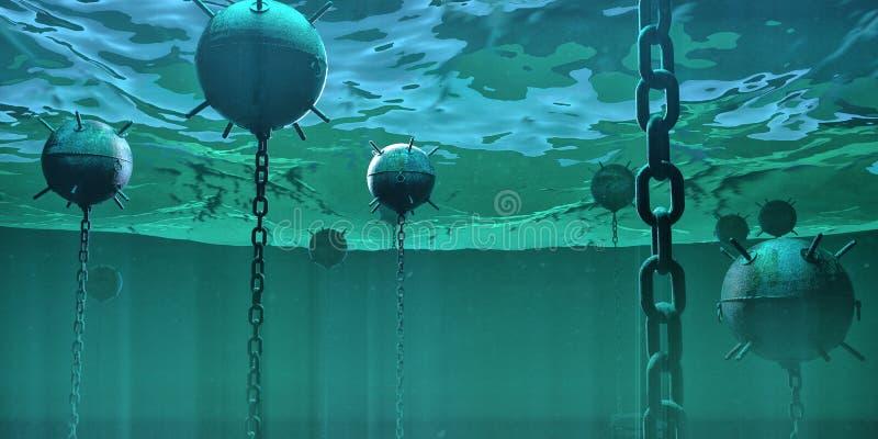 Galleggiamento subacqueo navale delle bombe delle miniere subacqueo nell'oceano il concetto ad alto rischio nascosto 3d del peric royalty illustrazione gratis