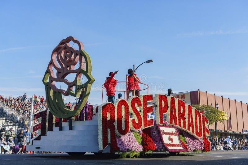 Galleggiante variopinto di parata di Rosa immagini stock