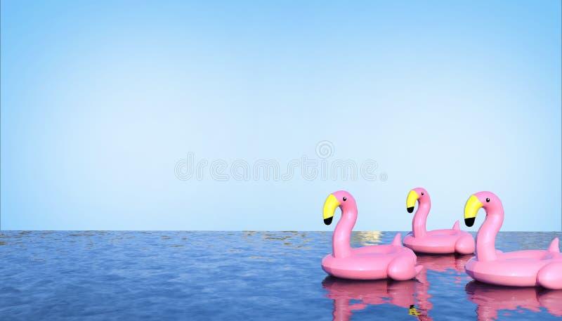 Galleggianti del fenicottero degli uccelli in stagno e concetto di vacanza estiva sul fondo pulito Art Style minimo del cielo blu illustrazione vettoriale