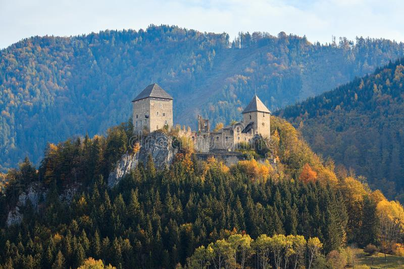 Gallenstein Castle, founded in 1278. Municipality of Sankt Gallen, state of Styria, Austria. The partially ruined Gallenstein Castle, founded in 1278 royalty free stock image