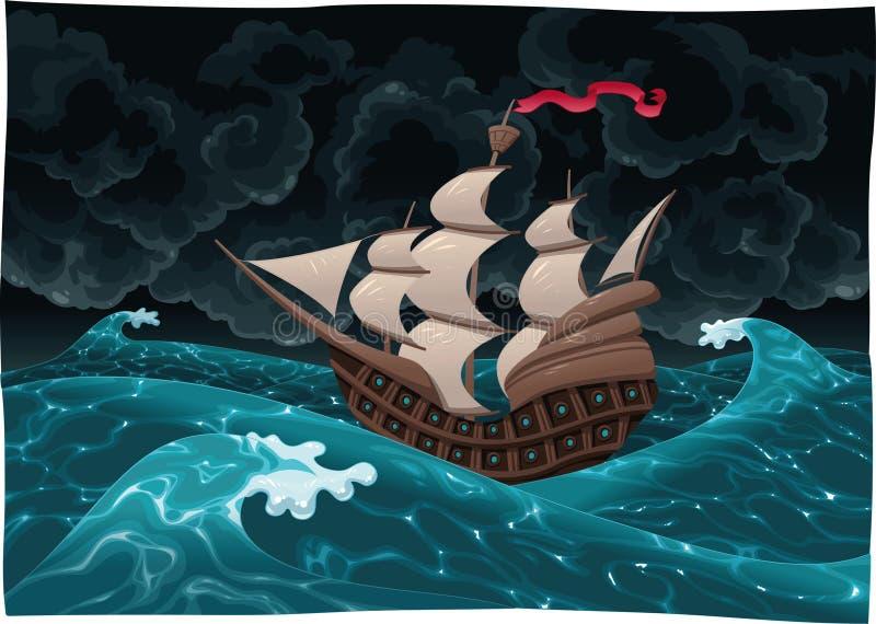 Galleon en mer avec la tempête. illustration stock