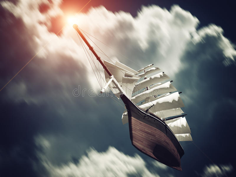 Galleon floating on Clouds stock photography