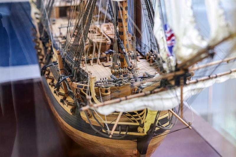 Galleon model detail made of wood. Useful as hobby example. HMS Leopard 1790 was a 50-gun Portland-class fourth rate of the Royal royalty free stock photo