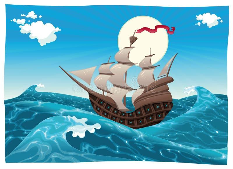 Galleon nel mare. illustrazione di stock