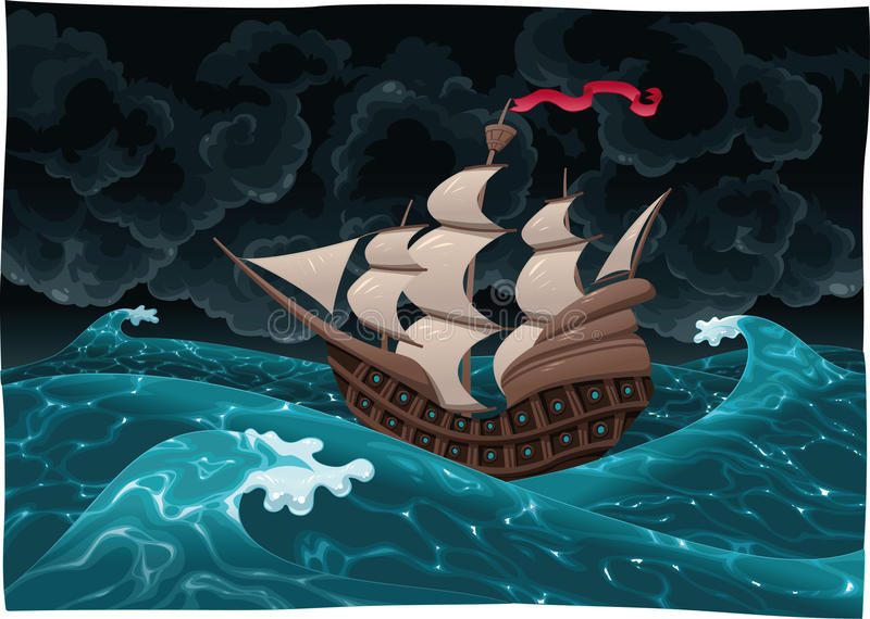Download Galleon Nel Mare Con La Tempesta. Illustrazione Vettoriale - Illustrazione di galleon, seascape: 14488666