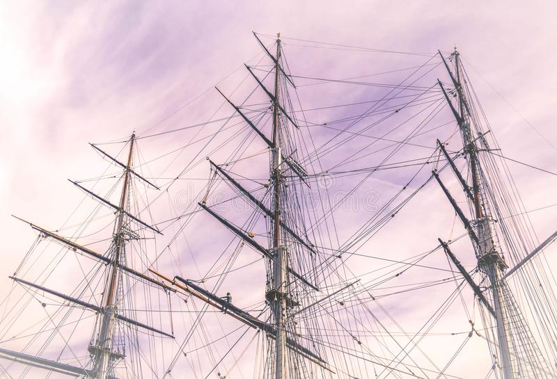 Galleon Ship Photo Under the Cloudy Sky stock photography