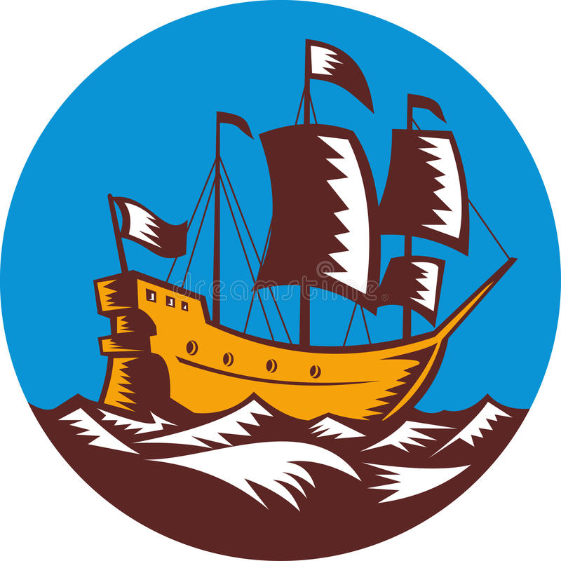 Galleon Ship Sailing Woodcut Royalty Free Stock Photo