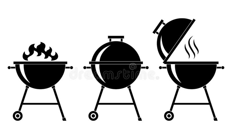 Gallerbbq ställde in symboler stock illustrationer