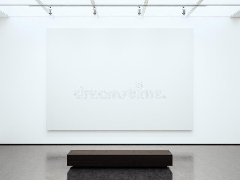 Galleri för tom vit kanfas för foto hållande modernt Modern öppet utrymmeexpo med det konkreta golvet Ställe för affär arkivbilder