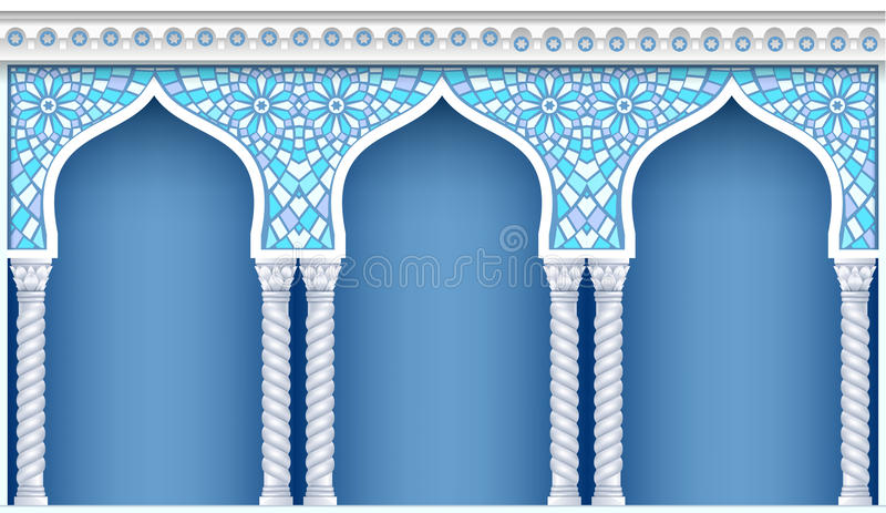 Galleri i orientalisk stil stock illustrationer