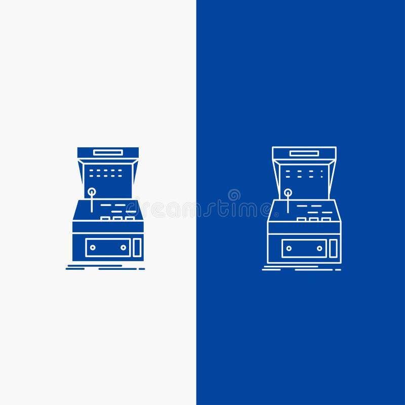 Galleri, konsol, lek, maskin, knapp för leklinje- och skårarengöringsduk i det vertikala banret för blå färg för UI och UX, websi stock illustrationer