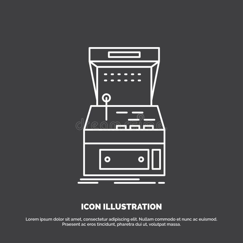 Galleri konsol, lek, maskin, leksymbol Linje vektorsymbol f?r UI och UX, website eller mobil applikation stock illustrationer