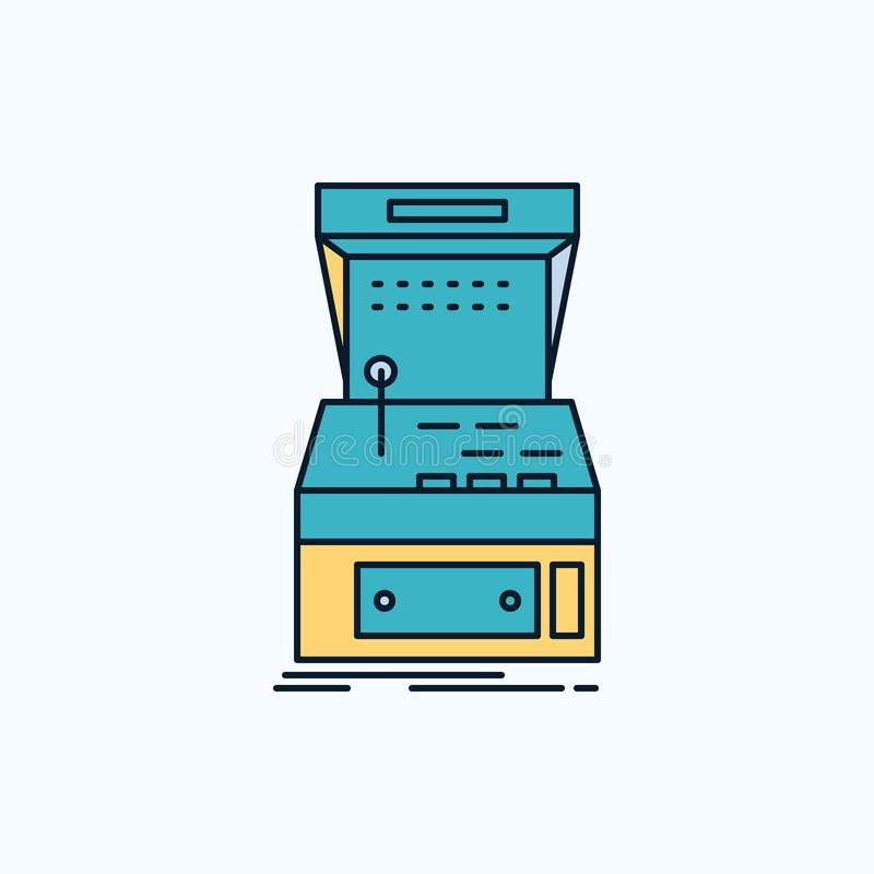 Galleri konsol, lek, maskin, plan symbol för lek gr?nt och gult tecken och symboler f?r website och mobil appliation vektor stock illustrationer